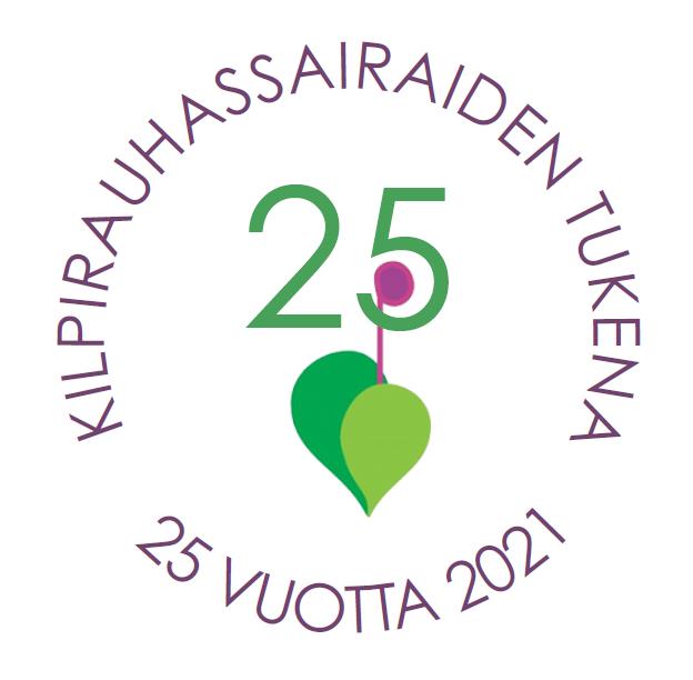 """Kilpirauhasliiton juhlavuoden logo, jossa on perinteisen logon lisäksi numero 25 ja teksti: """"Kilpirauhassairaiden tukena 25 vuotta 2021""""."""