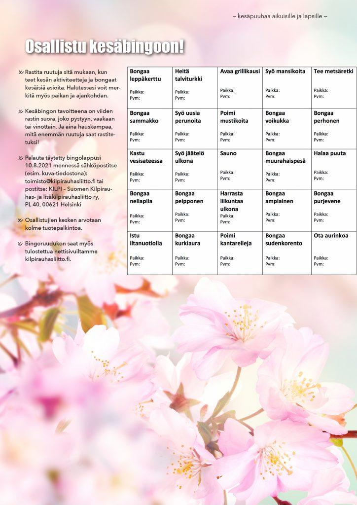 Kesäbingo erilaisista kesäisistä puuhista, mitä voi halutessaan kesän aikana täydentää.